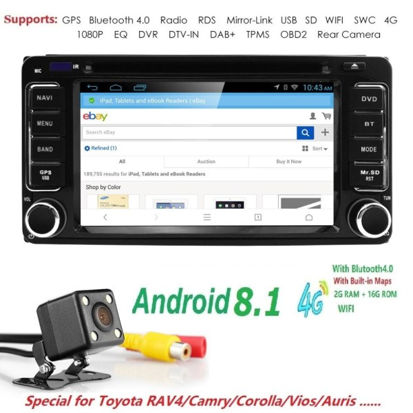 Android 8.1 Fit for Toyota In Dash Stereo Car DVD Player GPS Navigator Radio SWC DVR RDS DVBT DAB+TPMS BT USB SD Rearview Camera