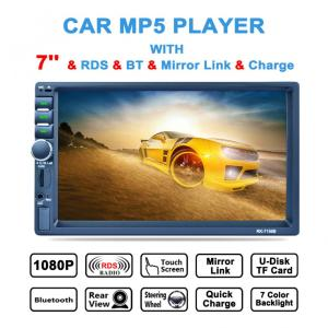7'' 2 DIN Bluetooth In Dash HD Touch Screen Car Video Stereo Player AM / FM / RDS Radio Support Mirror Link / Aux In / Camera