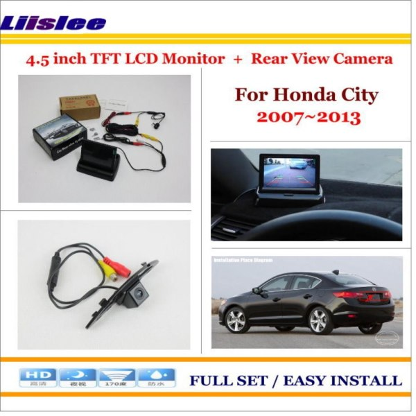 """Liislee For Honda City 2007~2013 Auto Rear View Camera Back Up + 4.3"""" LCD Monitor = 2 in 1 Parking Assistance System"""