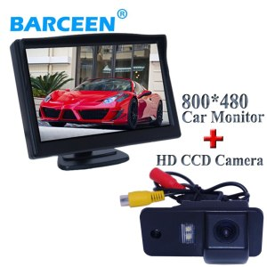 """800*480 resolution 5"""" car display monitor wire with car rearview camera water-proof black plastic shell materia for Audi A6L"""