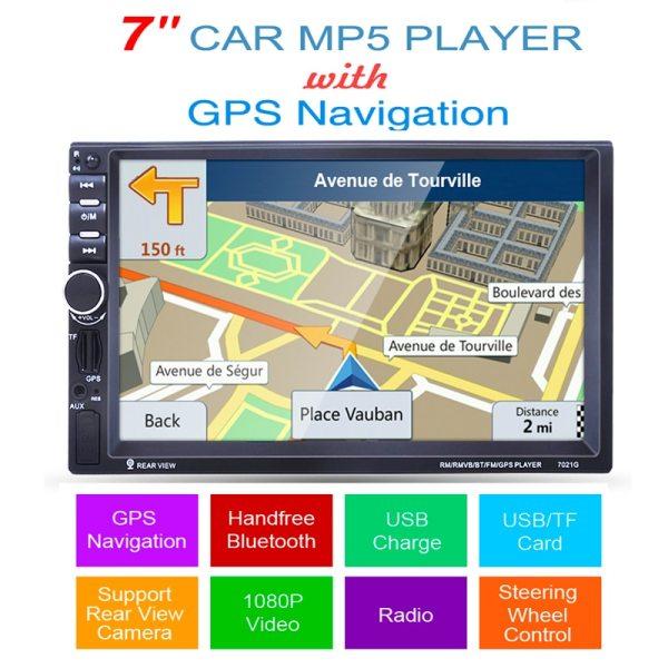 2 din car mp5 player GPS USB universal car radio audio auto car parking sensor stereo in dash Bluetooth Free map+Camera For VW