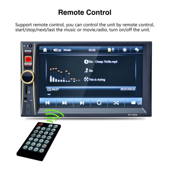 RK-7680B 6.6 Inch Car Radio Player Stereo MP5 Car Audio Bluetooth USB Aux TF In-Dash FM With Rear View Camera Remote Control