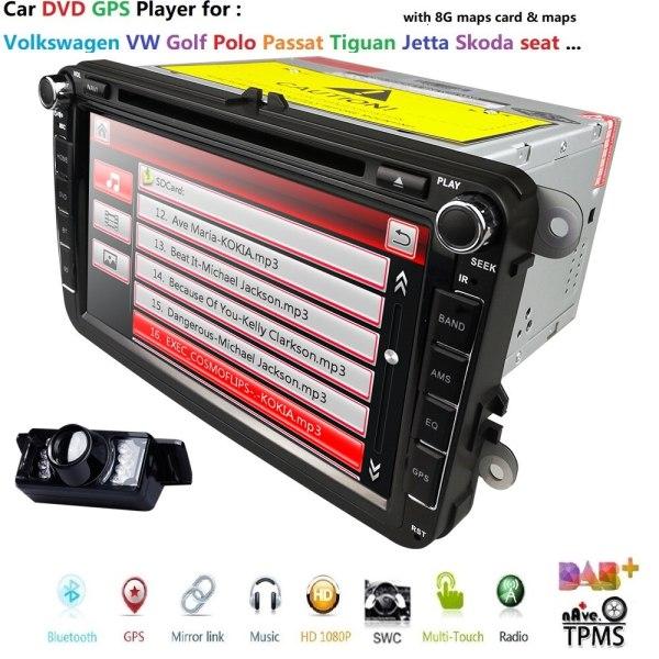 2 Din 8 inch car dvd GPS for VW Polo Jetta Tiguan passat b6 cc fabia Bluetooth Radio CD in dash steering wheel RDS DAB+ REAR CAM