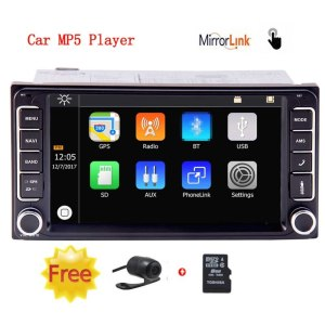 Wireless Rear Camera 2 Din Car Stereo in Dash Car MP5 Player Special for Toyota with 7 inch Capacitive Touchscreen navigation