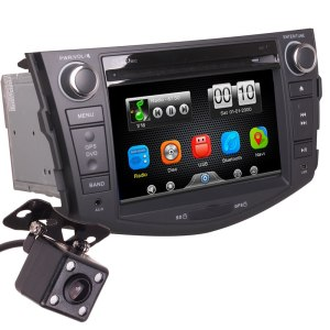 2Din Car In Dash DVD Media Player Radio Bluetooth Head Unit Stereos with Reverse Camera for Toyota RAV4 2007-2011 (Without GPS)