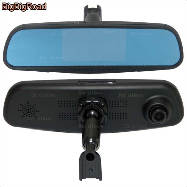 BigBigRoad For nissan march Dual Lens Car Mirror Camera DVR Blue Screen Video Recorder FHD 1080p Dash Cam with Original Bracket