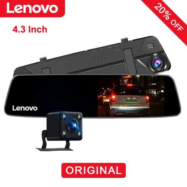 Original Lenovo IPS Car DVR Dual Lens Rearview Mirror Camera Night Vision Dashcam Video Recorder License Plate Settings Dash Cam