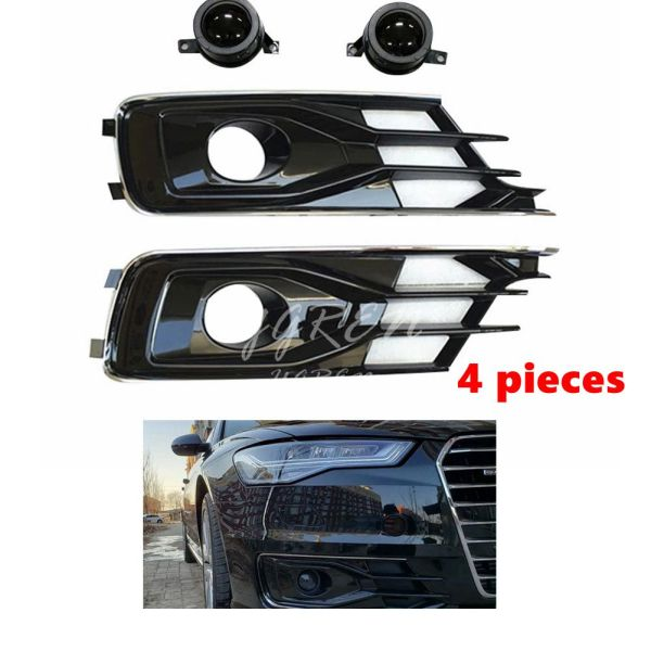 ABS Plastic Front Grill Bumper Fog Lights Frame Trim Cover Fit For Audi A6L C7 PA 2016-2018