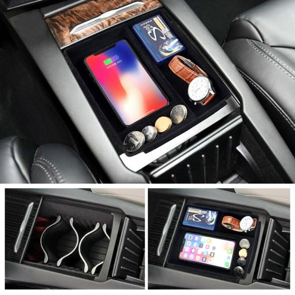 1pc New Car Phone Wireless Charging Storage Box Center Console Container Armrest Organizer for Tesla Model S Model X