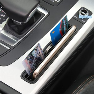 Lapetus Middle Control Bank Card Card Slot Storage Box Decoration Frame Cover Trim Fit For Audi Q5 2018 2019 Plastic Black Look