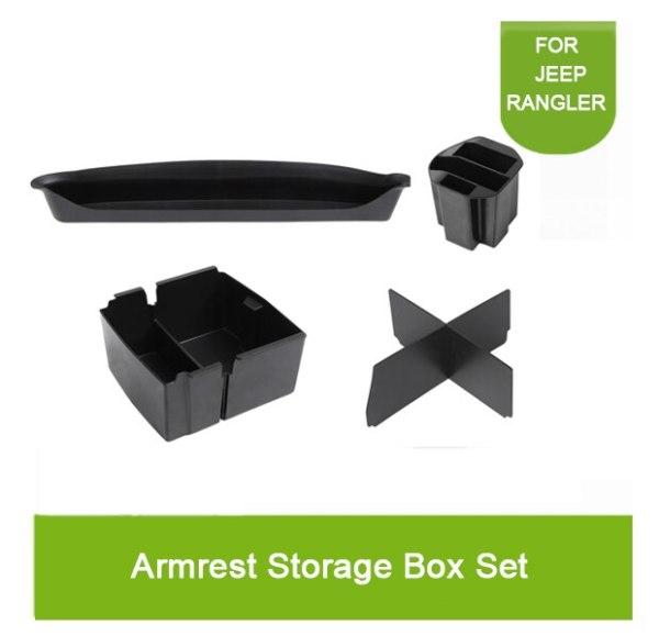 5pcs For Jeep Wrangler JL 2018 up Armrest Storage Box Set Holder Container Center Console Car Interior Accessories Organizer