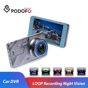 "Podofo Car DVR Auto Camera Dashcam 4""IPS Dual Lens Cars Dvrs FHD 1080P Video Registrator Recorder G-sensor Night Vision Dash Cam"