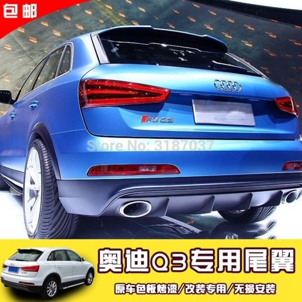 For Audi Q3 Spoiler Audi Q3 ABS Plastic Unpainted Color Rear Roof Spoiler Wing Trunk Lip Boot Cover Car Styling With Color