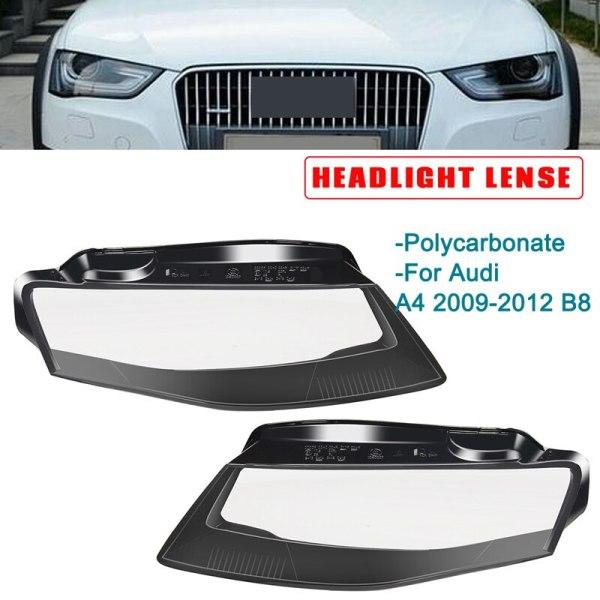 1Pair Car Left Side/Right Side Front Kit Cover Len Headlight Head Light Lamp Lamp Shell Car Styling For Audi A4 09-12 B8 8K094