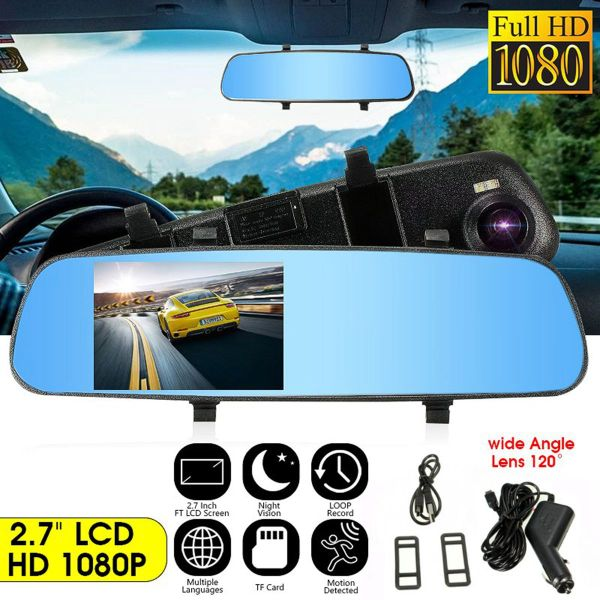 2.7'' HD 1080P TFT Rearview Mirror Digital Video Record DVR Cam Video Recorder Vehicle Rear View Camera w/PC-USB Data Cable