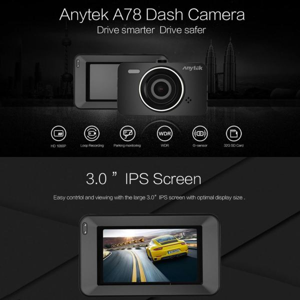 3 Inch IPS Full HD 1080P 170 Degree Wide Angle Dashcam Car DVR Camera Night Vision Dash Cam Driving Recorder for Anytek A78