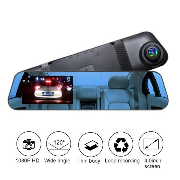 TOSPRA 4 Inch Car DVR Camera Rearview Mirror Dash Cam HD 1080P Car Driving Recorder 120 Degree Wide Angle Video Recorder