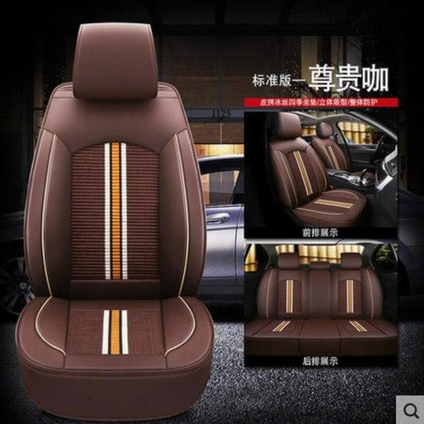High Quality Leather+ice silk auto seat covers for Renault armrest capture clio duster fluence kadjar kaptur koleos latitude