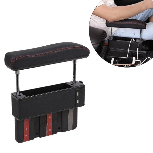 PU Leather Car Vehicle Seat Crevice Gap Storage Box With 4USB Armrest Pocket Organizer Phone Key Card Holder