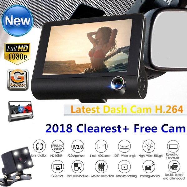 4.0 Inch Car DVR 3 Camera Full HD 1080P Dual Lens Rearview Video Camera Recorder Auto Registrator Night Vision Dash Cam