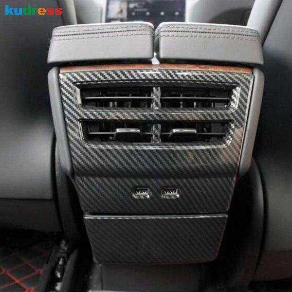 For Tesla Model X 2016-2018 2019 Carbon Fiber Rear Armrest Box Air Conditioning AC Vent Outlet Molding Cover Trim Accessories