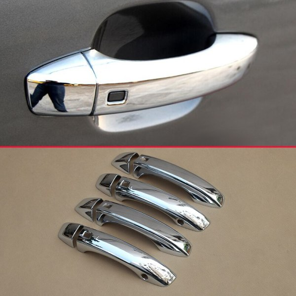8Pcs/Set Bright Glossy Chrome Door Handle Cover Accessories For Audi Q7 2016 2017 2018 Exterior ABS Plastic Molding Overlay Trim