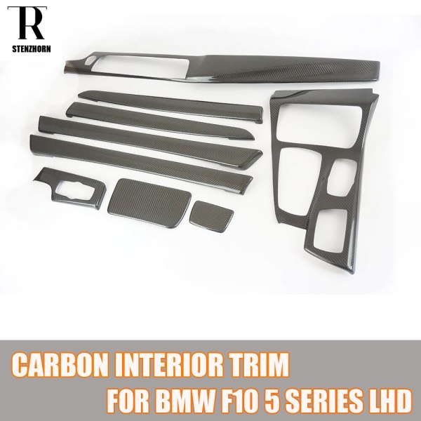 F10 Add On Style Carbon Fiber Interior Dashboard Moulding Trim Cover for BMW F10 5 Series Left Handle Drive Car Only 2010 - 2016