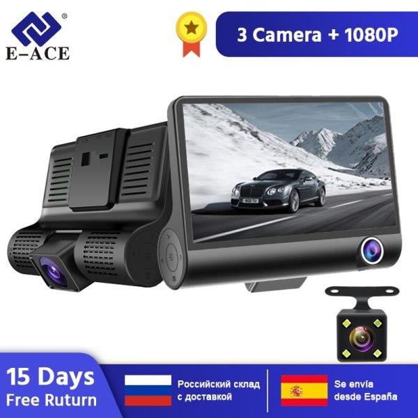 E-ACE B28 Car DVR 4 Inch Dash Camera 3 Cameras Lens with Rearview Camera Video Recorder Auto Registrator Dash Cam Dual Lens Dvrs