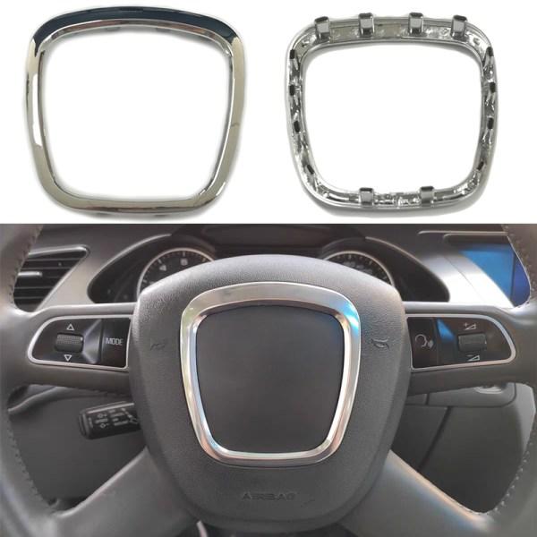 ABS chrome steering wheel trim flying wheel badge emblem logo frame car accessories for Audi A3 S3 8P A4 B6 B7 B8 A5 A6 C6 Q5 Q7