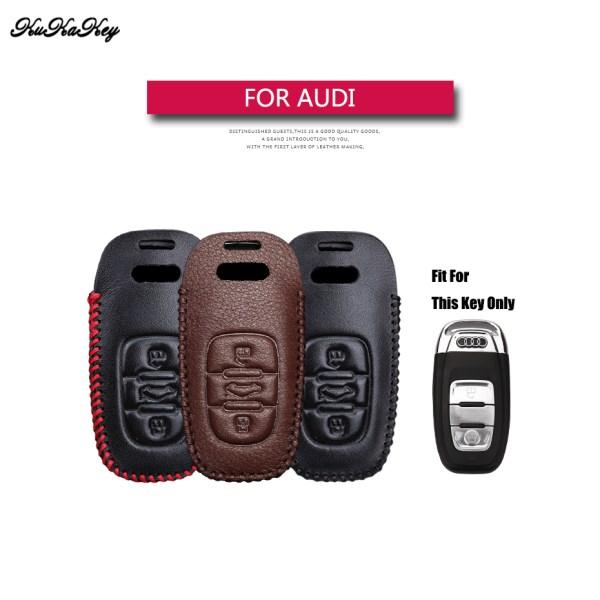 Genuine Leather Remote Smart Car Key Case Cover For Audi B6 B7 B8 A4 A5 A6 A7 A8 Q5 Q7 R8 TT S5 S6 S7 S8 Key Shell Bag for Audi
