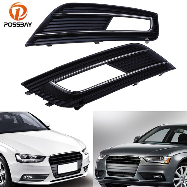 POSSBAY Front Bumper Fog Light Cover Grille for Audi A4 B8 2012 2013 2014 2015 Facelift Left/Right Auto Front for Audi A4 Grill