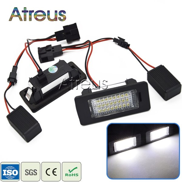 Atreus 2Pcs Car LED License Plate Lights 12V SMD3528 LED Number Plate Lamp Canbus For Audi A4 B8 Q5 A5 S5 2010 TT Accessories