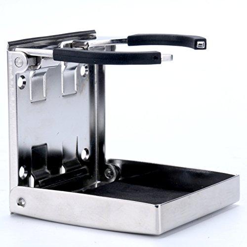 Amarine Made Stainless Steel Adjustable Folding Drink Holder Cup Holder Marine/Boat/Caravan/car (1)