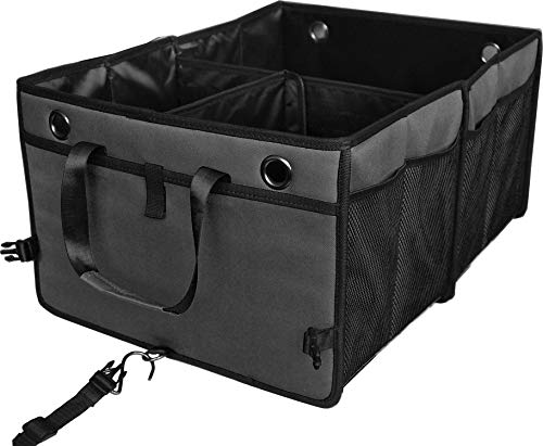 Cutequeen Trunk Organizer Back Seat Protector Storage Organizer Multi Compartments Collapsible Portable for SUV Car Truck Auto Red and Black(Pack of 1) (Trunk Organizer, Black')