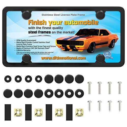 DFDM National Flat Black Powder Coated Stainless Steel License Plate Frame, Rust Free Metal, Includes Screws, Fasteners and Caps 4 Hole Bracket Anti-Theft Model
