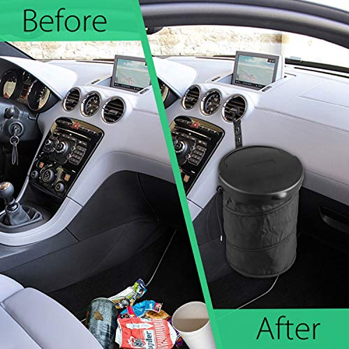 Car Trash Can with Lid Collapsible, Linkstyle Portable Hanging Garbage Bin Leak Proof Fit for All Vehicle