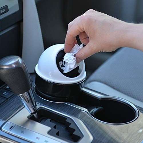 Cup Holder Trash Can | Unique Car Small Garbage Can with Spring Hinge Flap | Automobile Garbage Bin with Lid for All Vehicles | Van, SUV, Truck, Buses | Lid Color - Silver