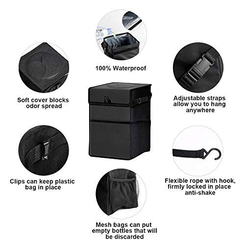 Waterproof Car Garbage Can with Lid and Storage Pockets Do you wish to say goodbye to the rubbish in your automobile?