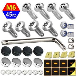 Aootf Anti Theft License Plate Screws -Stainless Steel Plate Screws Tamper Resistant Kits for License Plates Security and Covers