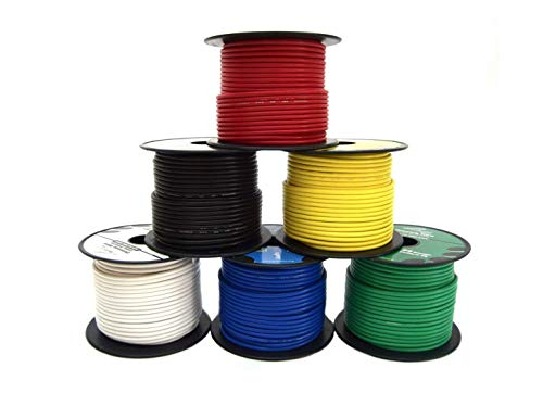 16 Gauge Wire Combo 6 Pack 12V 100'FT per Roll (600 ft Total) 16 Gauge Auto Wire Copper Clad Aluminium Low Voltage 16 Gauge Wire