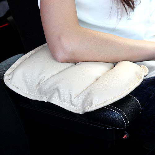 GAMPRO Luxury PU Soft Leather Car Center Console Cushion(11x 8.6 inches) Vehicle Seat Cushions Armrest Pillow Pad for Car Motor Auto Vehicle, Raises Your Center Console.(Beige)