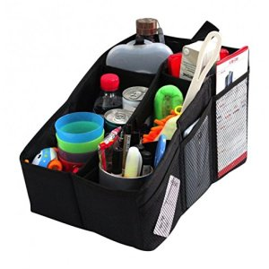AutoMuko Car Organizer, Car Console Organizer with 6 Large Pockets, Adjustable Dividers for Keeping Miscellaneous Items Organized- Use in Front or Back to Store Kids' Toys, Books, Snacks etc
