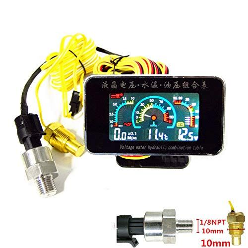 12V / 24V Car Truck LCD digital 3 in 1 Precise Stable Performance Water Temperature/Oil Pressure/voltage Gauges, Flashing Alarm, M10 Temperature Sensor Screw & 1/8 NPT Oil Pressure Sensor