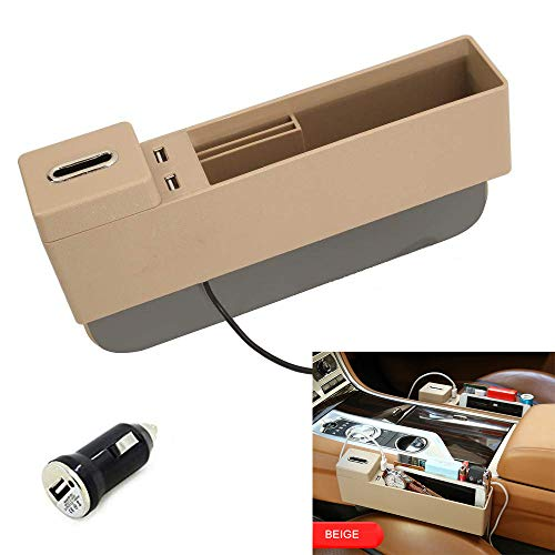 AUCD Car Console Side Pocket Seat Crevice Storage Organizer Seat Gap Pocket Organizer with Non-Slip Mat, Coin Box and 2 USB Charging Ports for Automotive Interior Accessories (Beige)