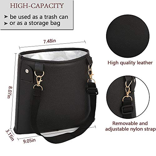 Hanging Car Garbage Can PU Leather HerMia Hanging Car Trash Can Bin, Hanging Car Garbage Can PU Leather, Waterproof Litter Auto Trash Can for Travelling, Outdoor, and Vehicle (Black)