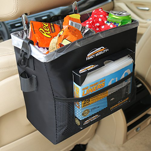 Garbage Bag Keeps Car, SUV, Truck Fancy Mobility Car Trash Can - Auto Accessories Garbage Bag Keeps Car, SUV, Truck Vehicle Interior Clean - Road Trip Essential - Perfect for Every Driver + Dispenser Pack of 25 Liners