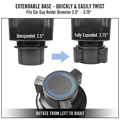 Car Cup Holder Expander Organizer Adjustable Base Seven Sparta Car Cup Holder Expander Organizer Adjustable Base (Black)