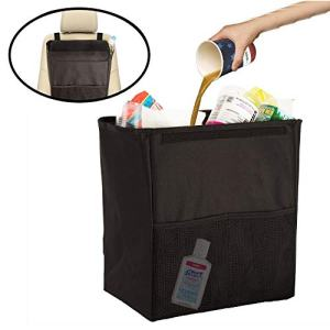 lebogner Car Trash Can with Cover, 100% Leakproof X-Large Car Garbage Bin, Car Trash Can, Sturdy Auto Trash Bag, Perfect for Seat Back Or Front, Car Floor, Car Garbage Organizer with 2 Mesh Pockets
