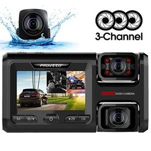 Pruveeo D40 Three and Dual Channel Dash Cam, Front Inside and Rear with Backup Camera, Dash Camera for Cars, 3.0 inch LCD, Night Vision, Supercapacitor, WiFi, G-Sensor, Loop Recording