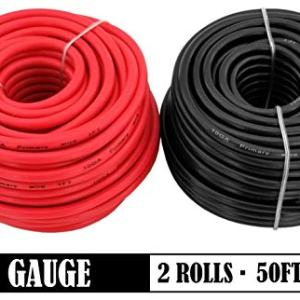 GS Power 10 Gauge Stranded Flexible Copper Clad Aluminum CCA Primary Automotive Wire for Car Stereo Amplifier 12 Volt Trailer Harness Hookup Wiring. 50 ft Red & 50 feet Black